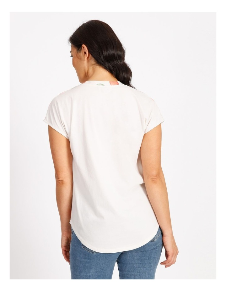 Woven Front Knit Back Tee With Pleat image 3