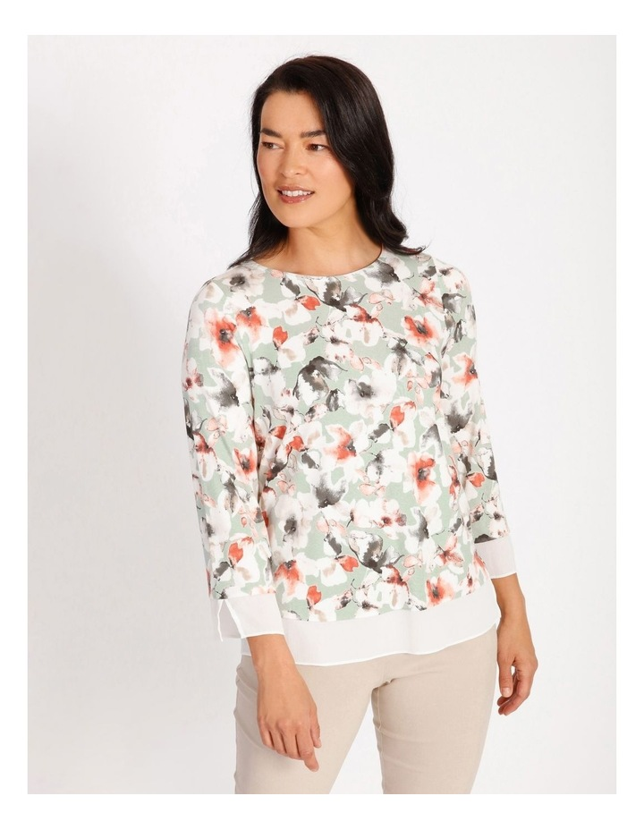 Round Neck 3/4 Sleeve Tee With Sheer Trim image 1