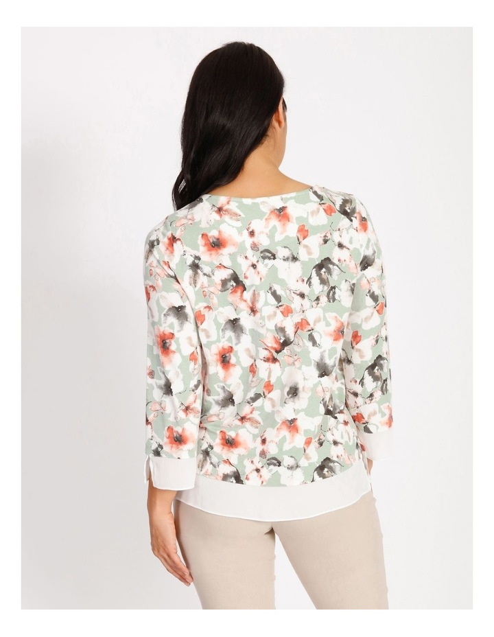 Round Neck 3/4 Sleeve Tee With Sheer Trim image 3