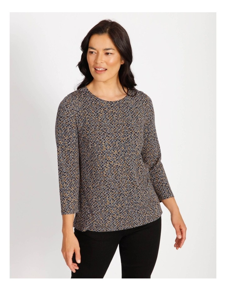 Ochre Dawn Button Shoulder Tee With 3/4 Length Sleeve image 1