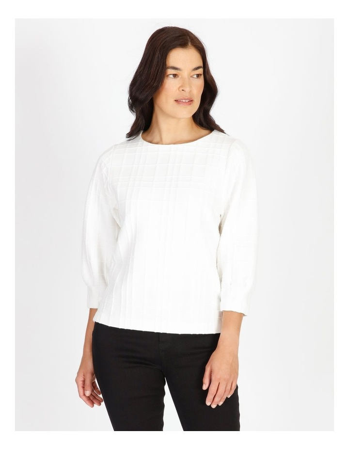Burnished 3/4 Sleeve Textured Tee With Tucked Cuffs image 1