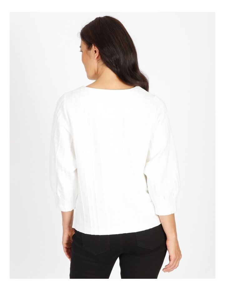 Burnished 3/4 Sleeve Textured Tee With Tucked Cuffs image 3