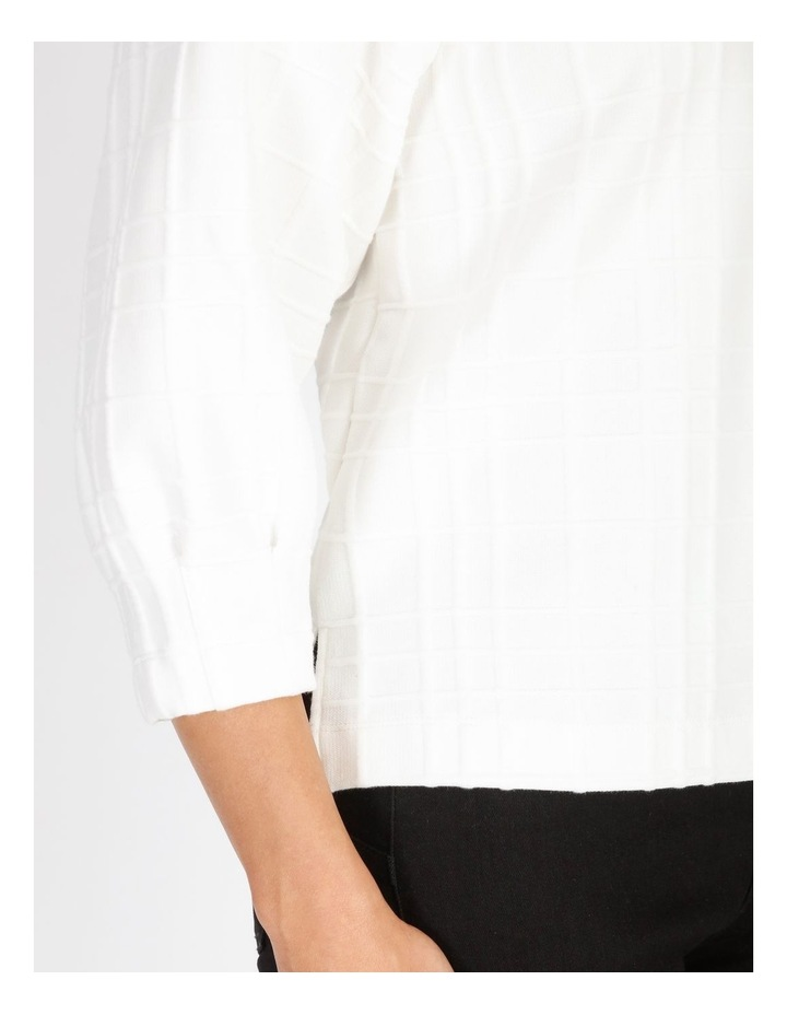 Burnished 3/4 Sleeve Textured Tee With Tucked Cuffs image 5