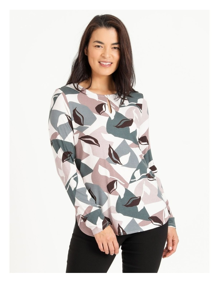 Pillar & Pine Curved Hem Long Sleeve Tee With Button Neck image 1