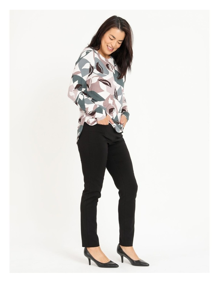 Pillar & Pine Curved Hem Long Sleeve Tee With Button Neck image 4
