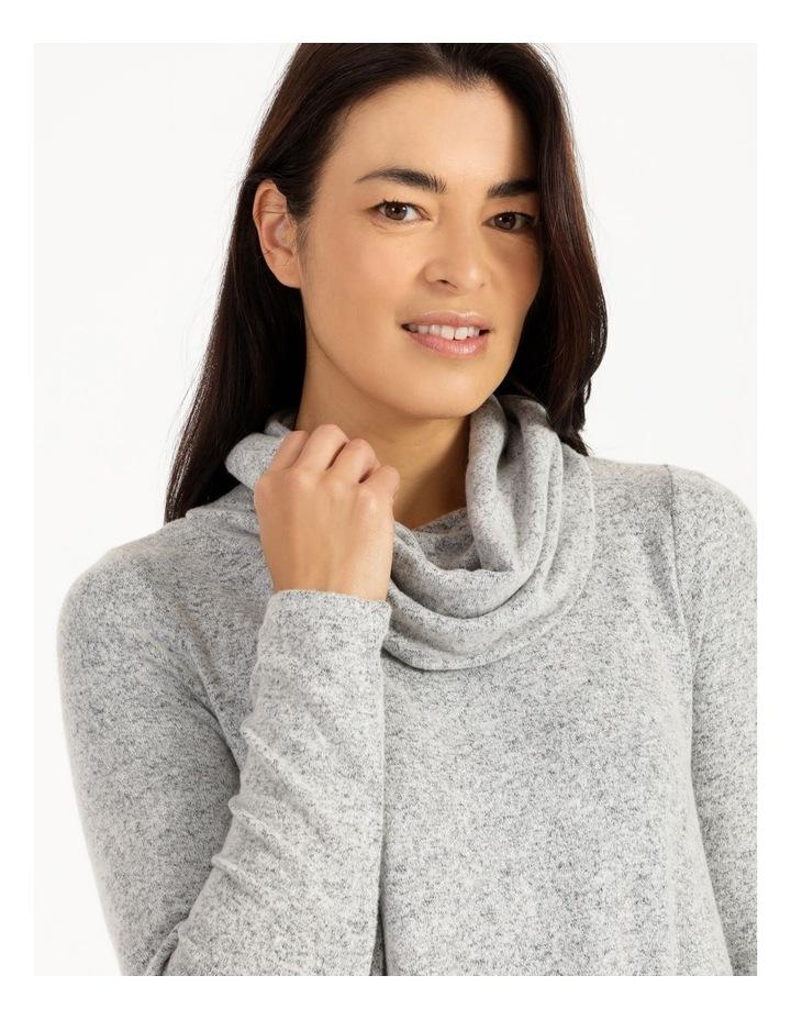 Cowl Neck Asymmetrical Hem Long Sleeve Tee image 4