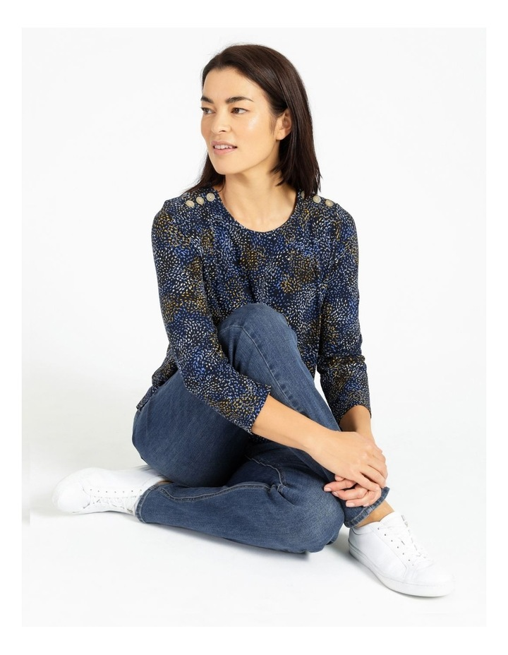 Button Shoulder Tee With 3/4 Length Sleeve image 2