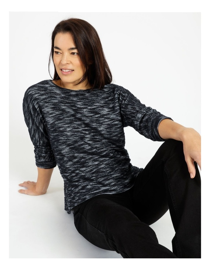 Crew Neck 3/4 Sleeve Tee With Side Splits And Bagged Out Hem image 4