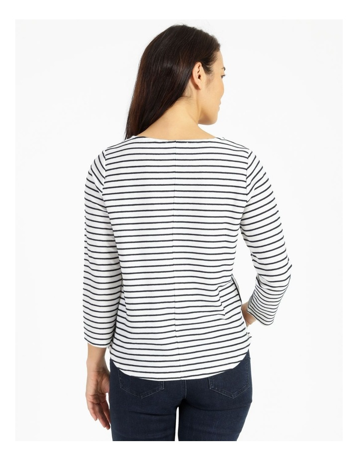 Horizontal And Vertical Stripe 3/4 Sleeve Tee image 3
