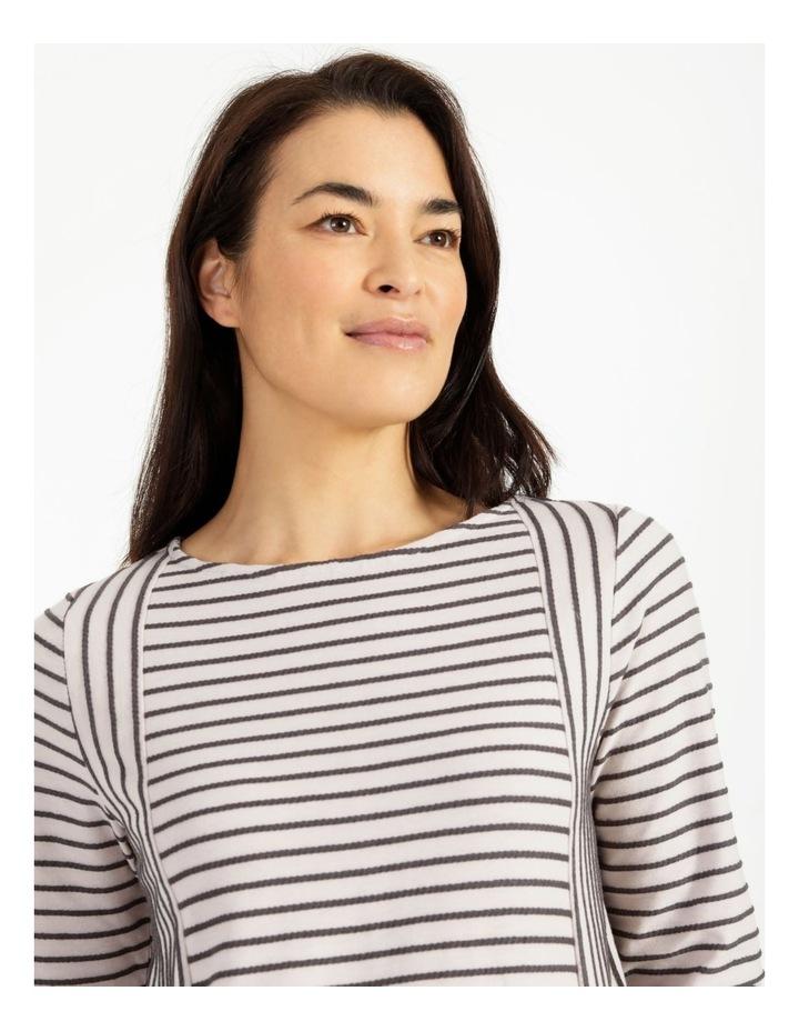 Horizontal And Vertical Stripe 3/4 Sleeve Tee image 6