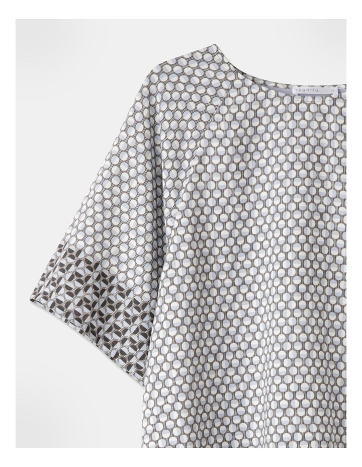 Woven Front Raglan Short Sleeve Tee Blue/Ivory/Charcoal Border Print image 2