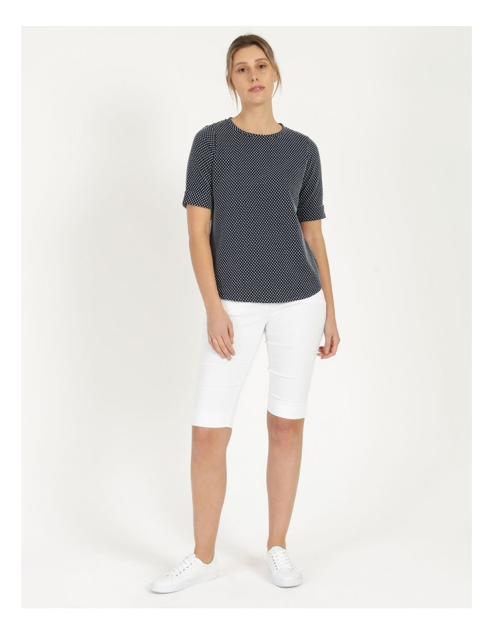 Round Neck Tee with Cuffed Sleeve Navy image 1