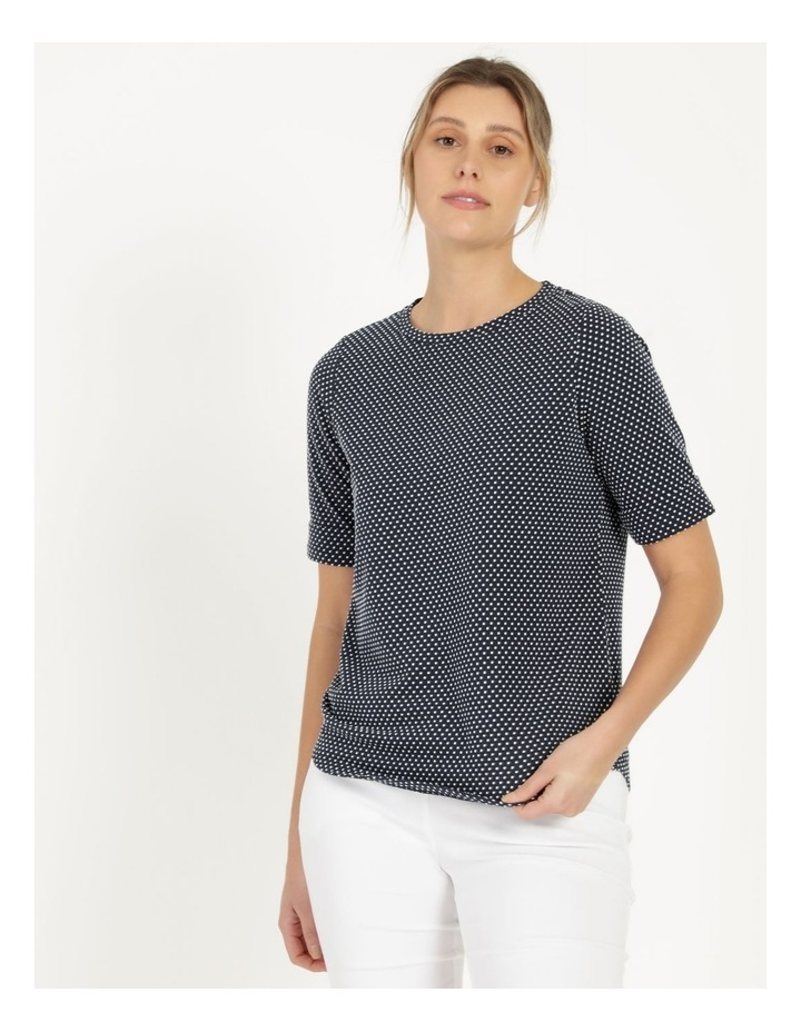 Round Neck Tee with Cuffed Sleeve Navy image 3