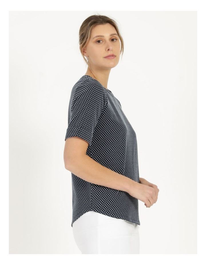 Round Neck Tee with Cuffed Sleeve Navy image 4