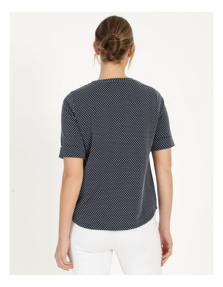 Round Neck Tee with Cuffed Sleeve Navy image 5