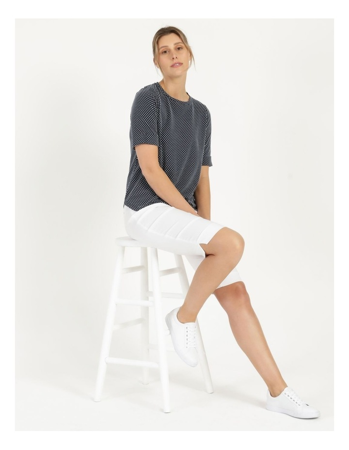 Round Neck Tee with Cuffed Sleeve Navy image 6