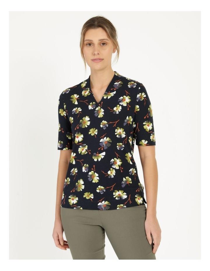 High Neck Short Sleeve Tee Navy/Avocado Floral image 1