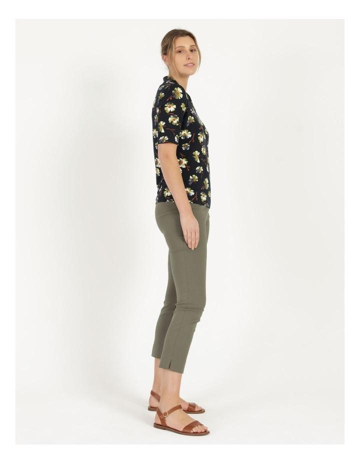High Neck Short Sleeve Tee Navy/Avocado Floral image 3