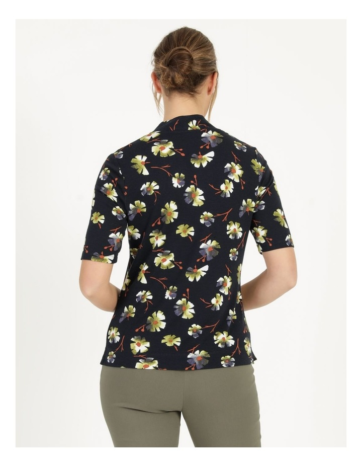 High Neck Short Sleeve Tee Navy/Avocado Floral image 4