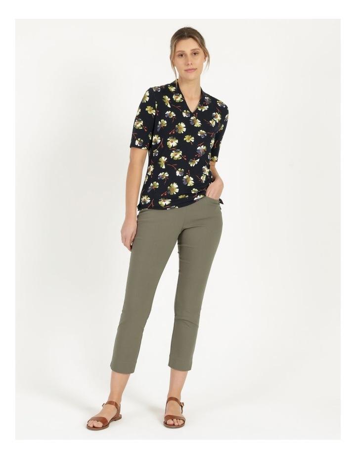 High Neck Short Sleeve Tee Navy/Avocado Floral image 5