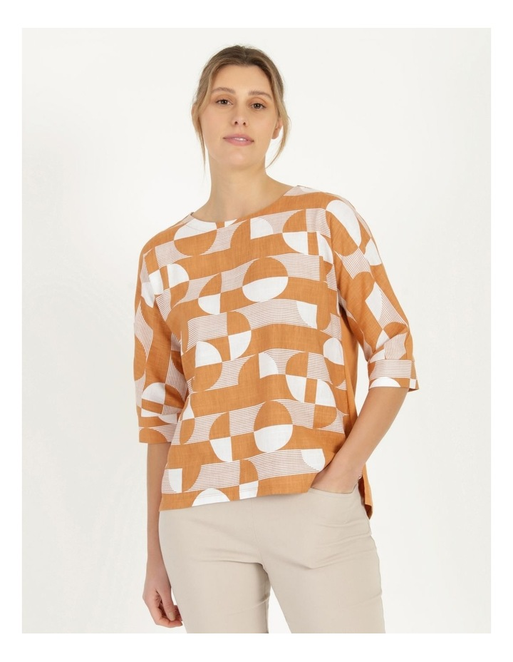 3/4 Magyar Sleeve Woven Front And Knit Back Tee Amber Spots image 1