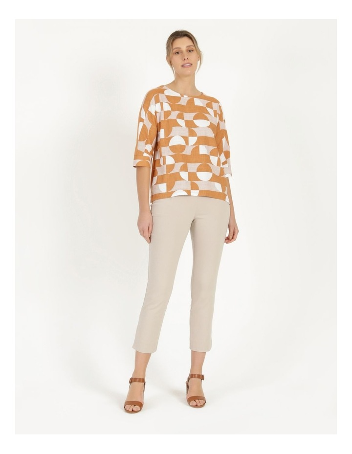 3/4 Magyar Sleeve Woven Front And Knit Back Tee Amber Spots image 3