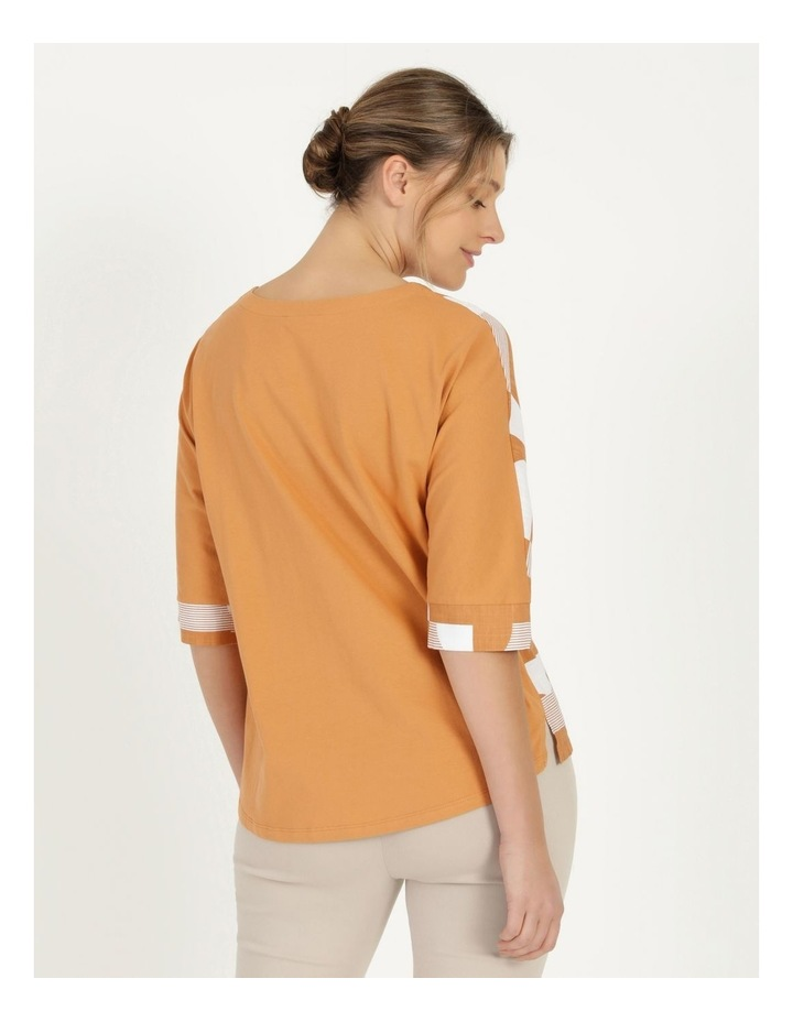 3/4 Magyar Sleeve Woven Front And Knit Back Tee Amber Spots image 5