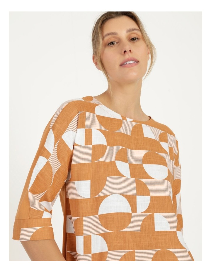 3/4 Magyar Sleeve Woven Front And Knit Back Tee Amber Spots image 6