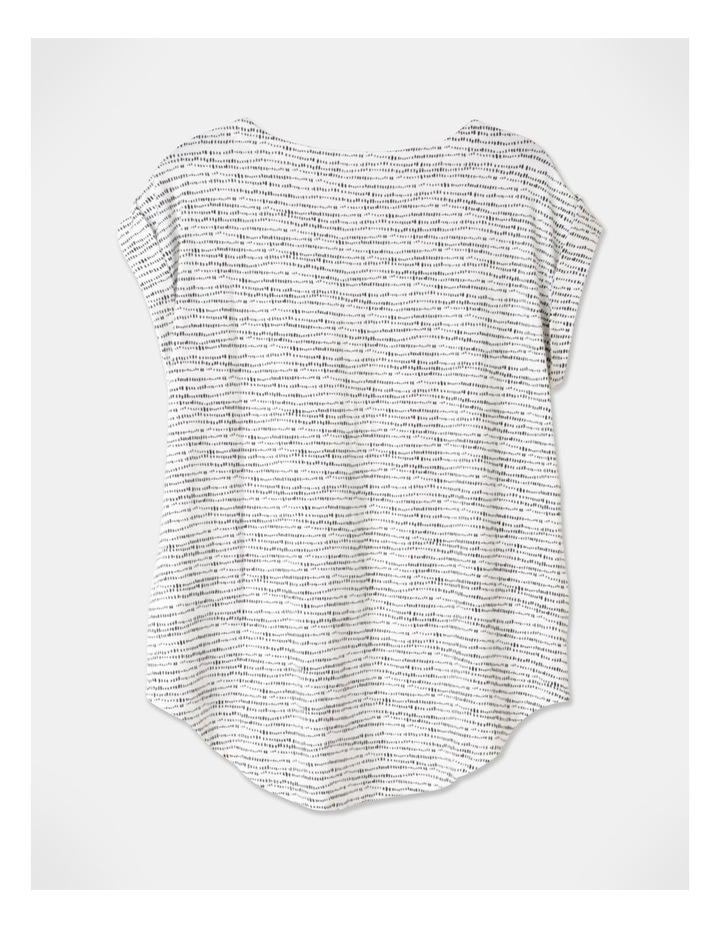 Extended Short Sleeve Cuff And Scooped Hem Tee Black/Ivory Abstract image 3