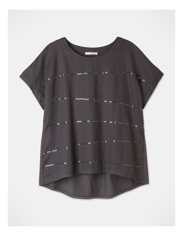 Short Magyar Sleeve Woven Front/Knit Back Sequins Tee Charcoal image 1