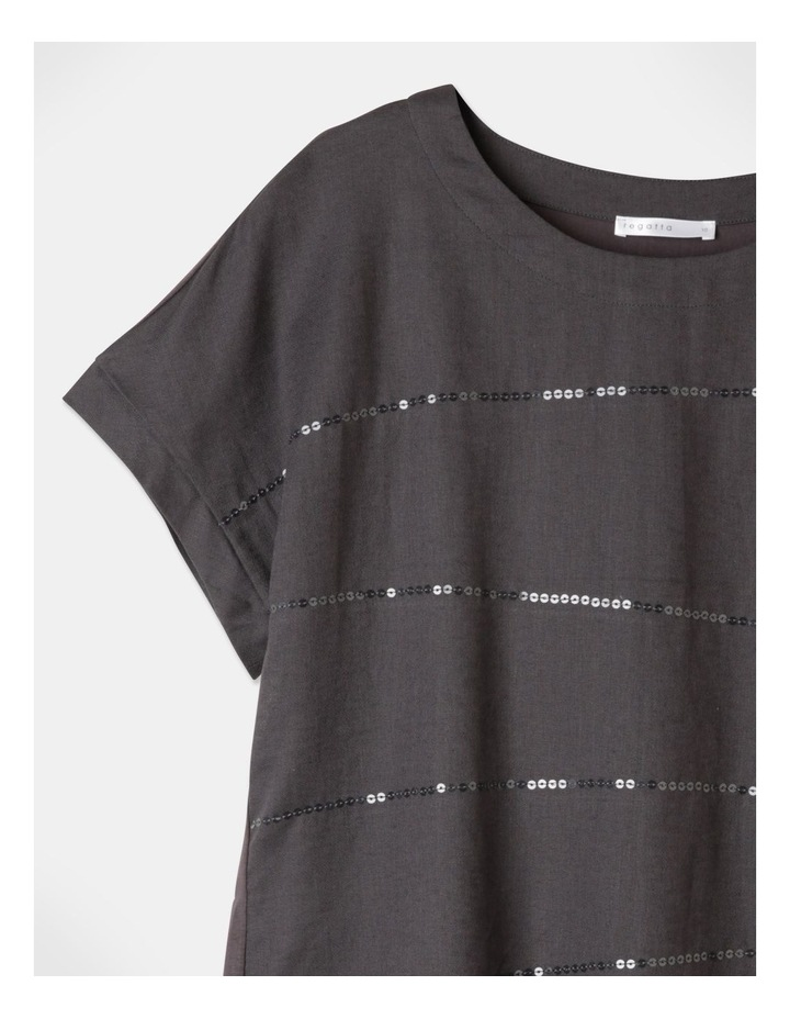 Short Magyar Sleeve Woven Front/Knit Back Sequins Tee Charcoal image 2