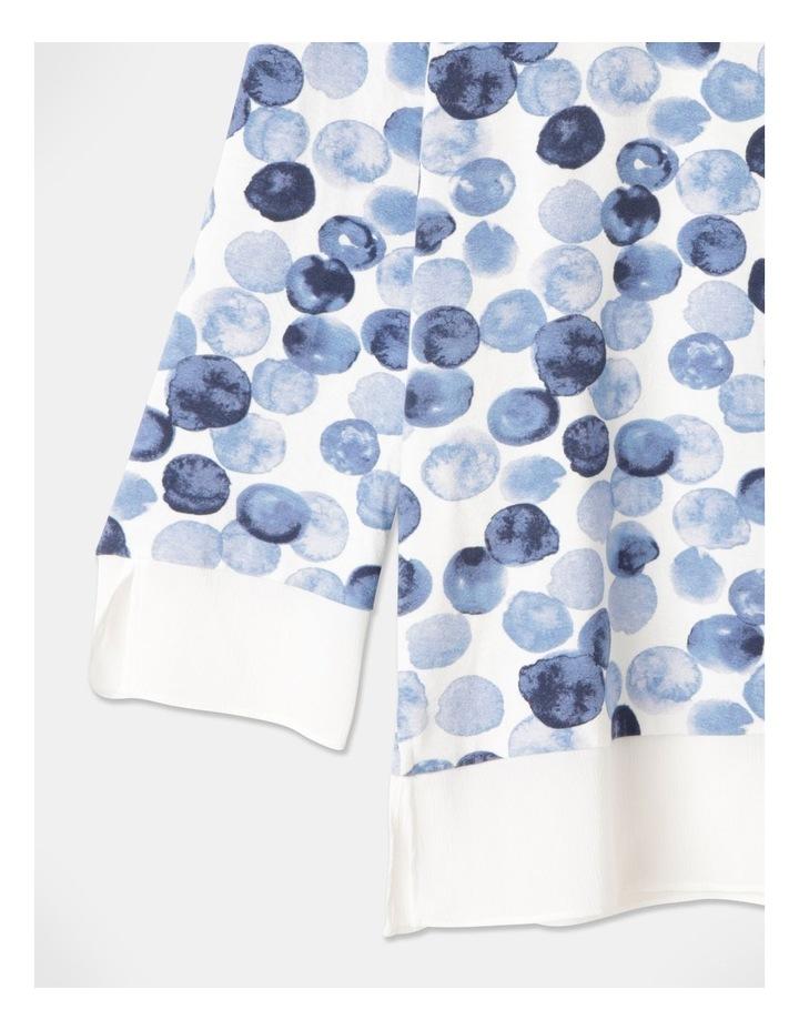 Round Neck Sheer Trim 3/4 Sleeve Tee Ivory/Blue Spots image 2