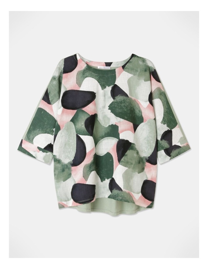 3/4 Magyar Sleeve Woven Front And Knit Back Tee Green/Grey Abstract image 1
