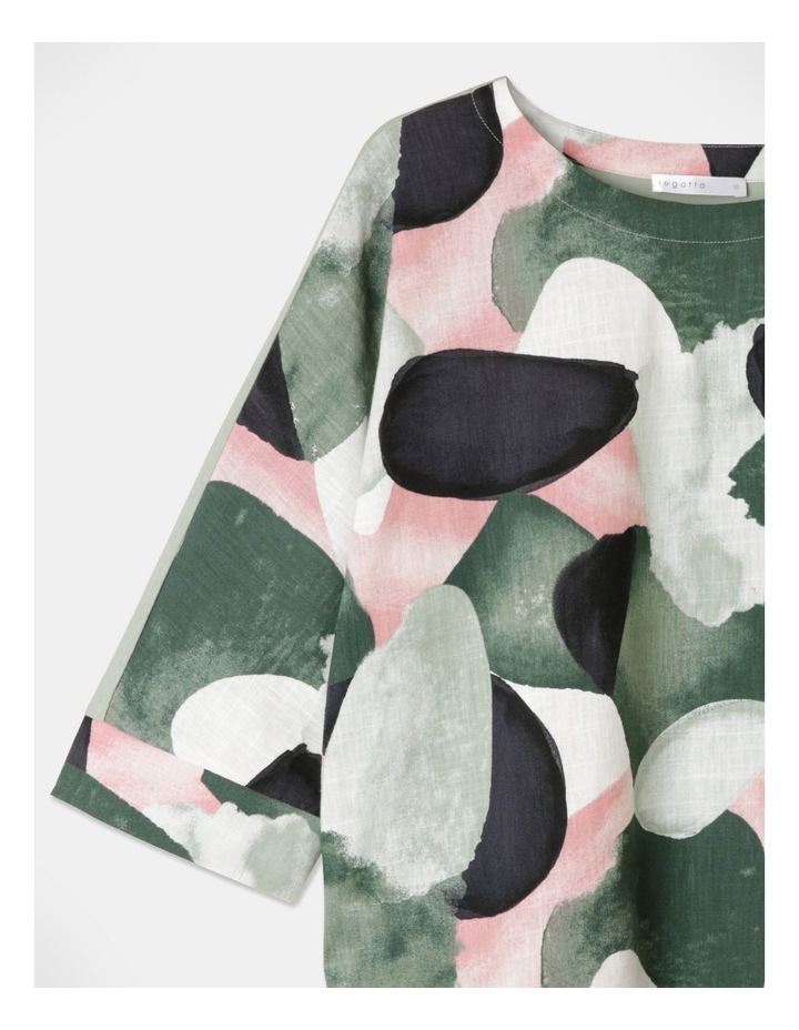 3/4 Magyar Sleeve Woven Front And Knit Back Tee Green/Grey Abstract image 2