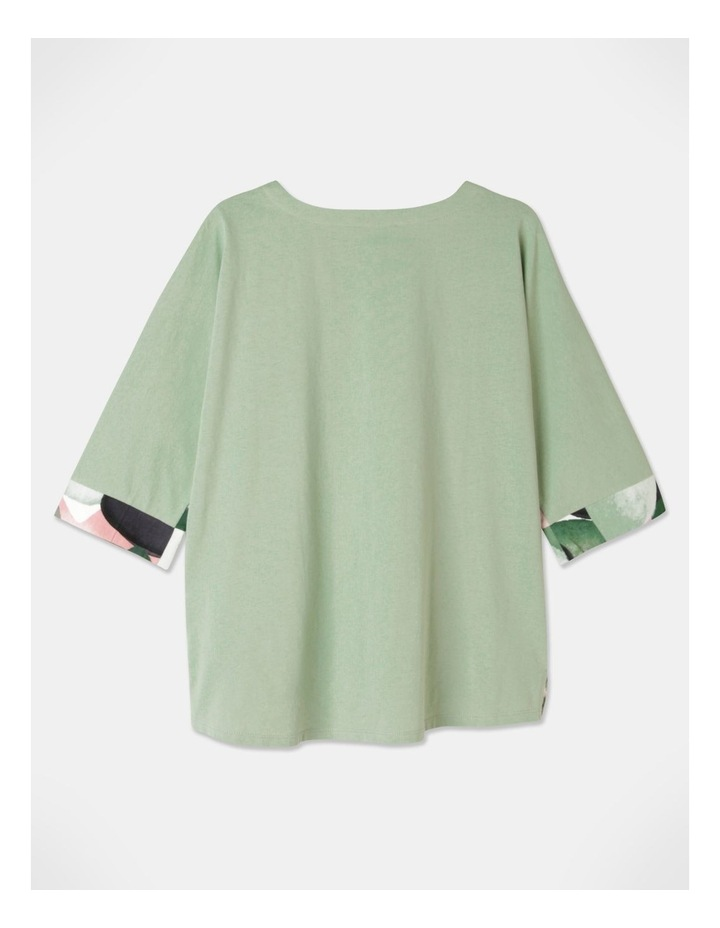 3/4 Magyar Sleeve Woven Front And Knit Back Tee Green/Grey Abstract image 3