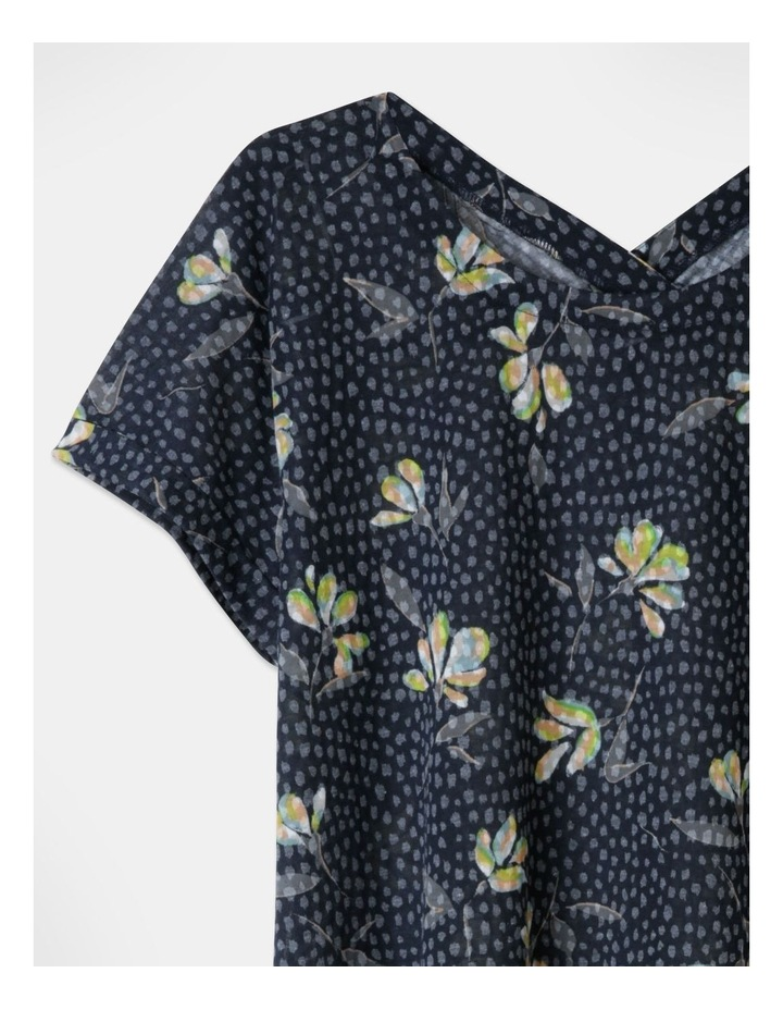 Extended Short Sleeve Burnout Cross Over Back Tee Navy Floral image 2