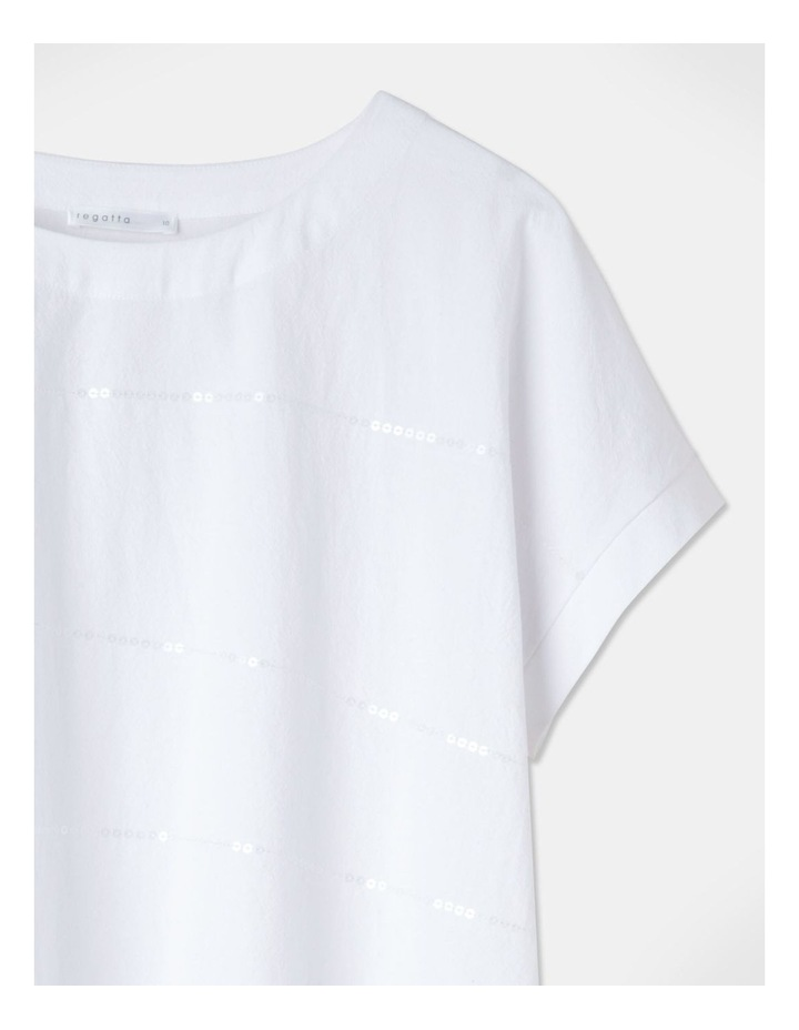 Short Magyar Sleeve Woven Front/Knit Back Tee Sequins White image 2