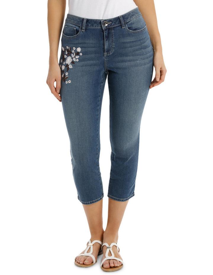 Tonal Emb Crop Denim Jean image 1