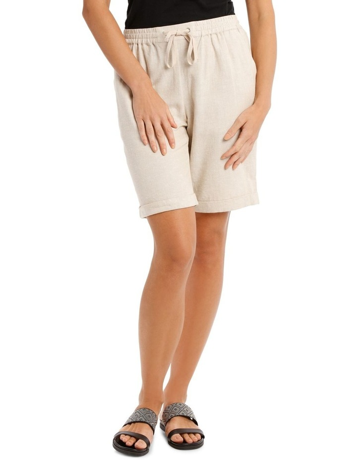 Linen Blend Elastic Waist Short image 1