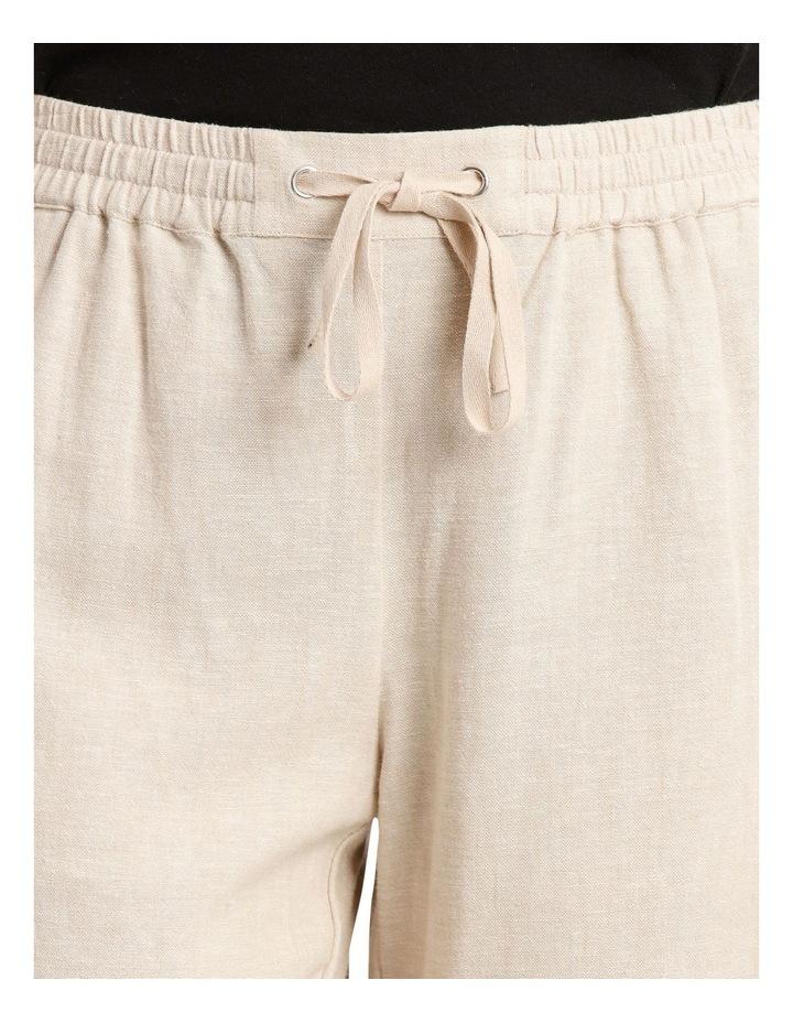 Linen Blend Elastic Waist Short image 4