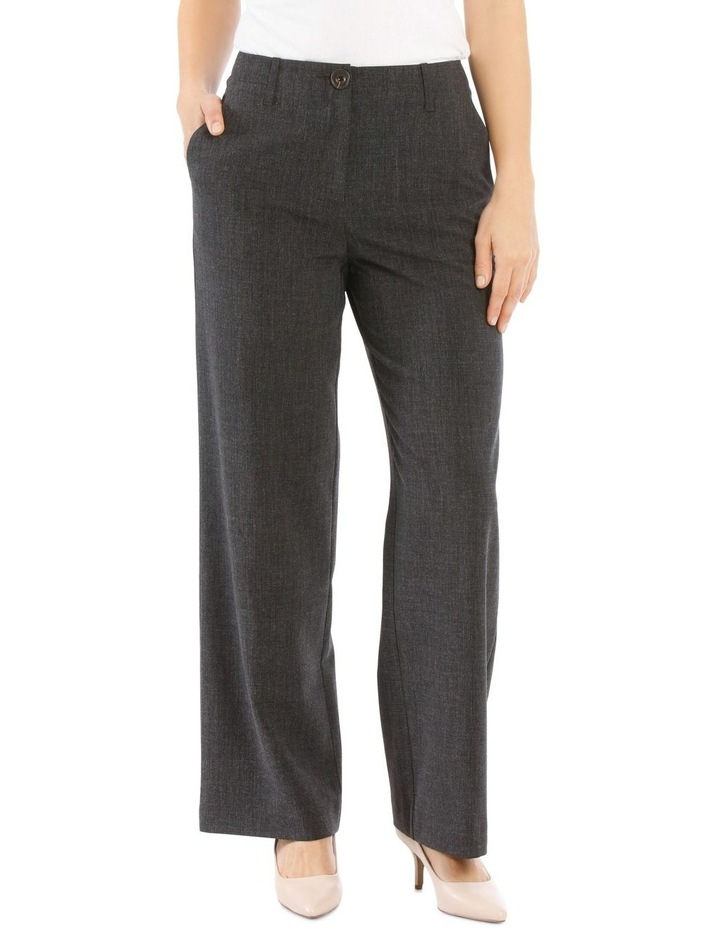 Flat Waisted Wide Leg Pant-Full Length-Charcoal image 1