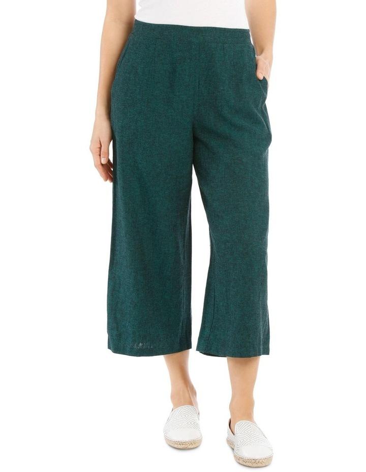 Flat Front Linen Blend Wide Leg Crop Pant image 1