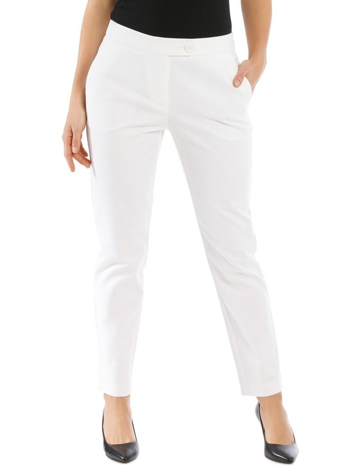 7/8 Stretch Cotton Pant-White image 1