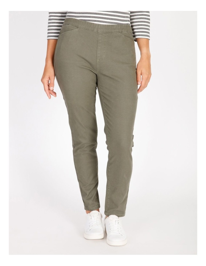 Olive Grove Elastic Waist Pant With Front & Back Pockets image 1