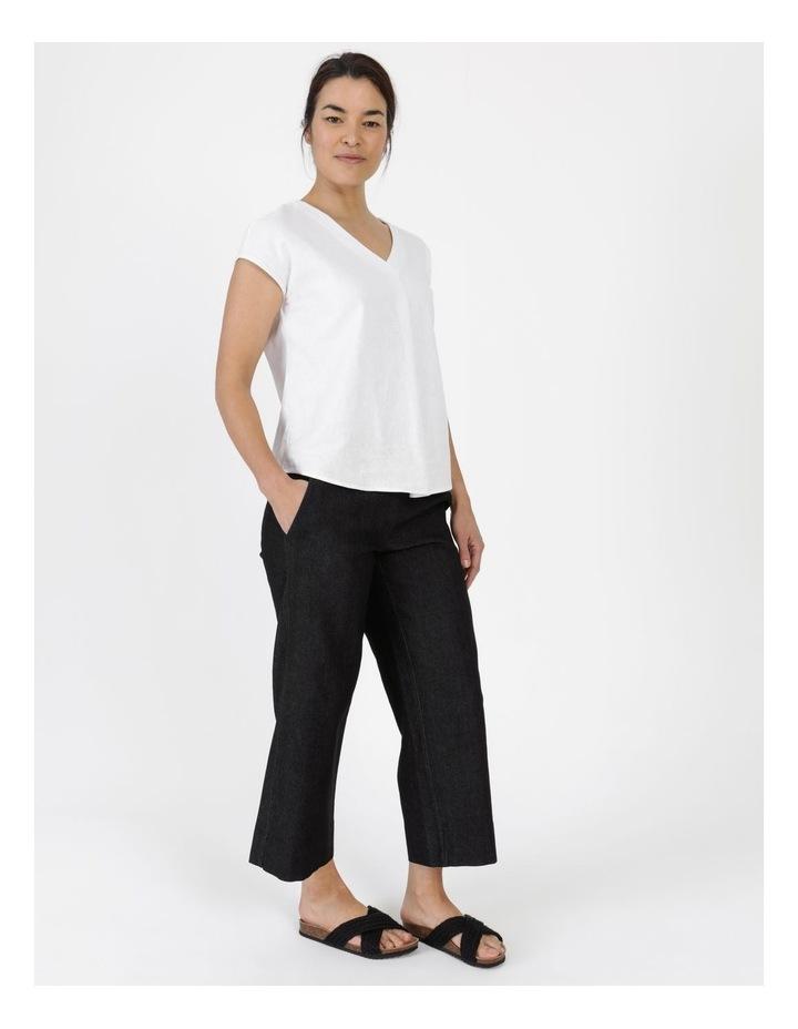 Stretch Cropped Straight Leg Pockets Pant Charcoal Denim image 2