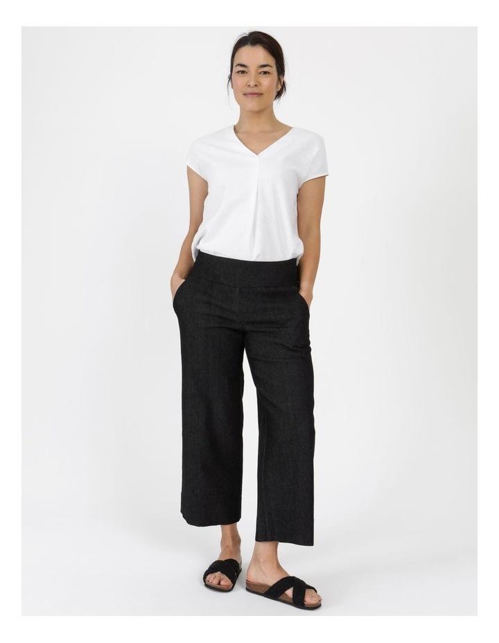 Stretch Cropped Straight Leg Pockets Pant Charcoal Denim image 5