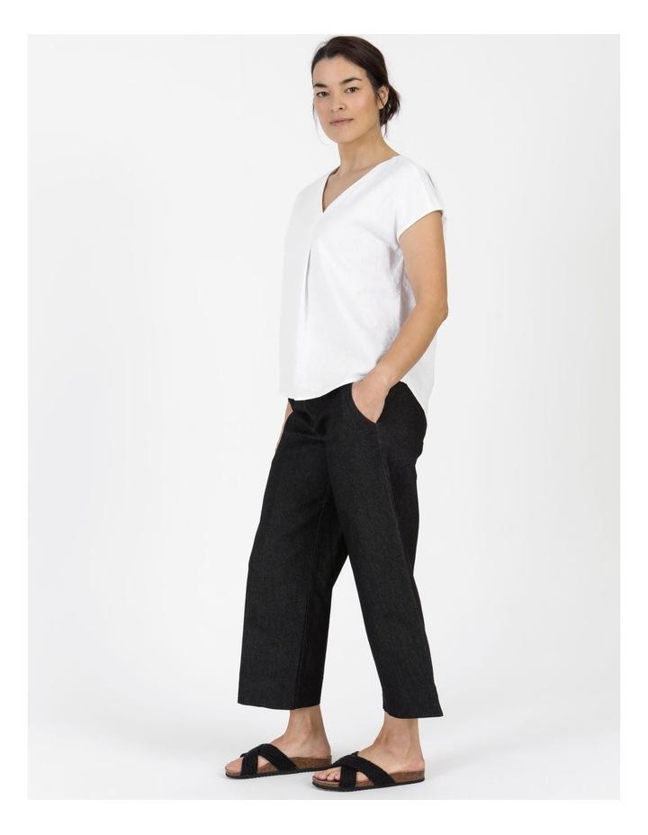 Stretch Cropped Straight Leg Pockets Pant Charcoal Denim image 6