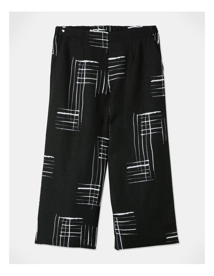 Flat Fronted Wide Leg Crop Pant Black/White Print image 1