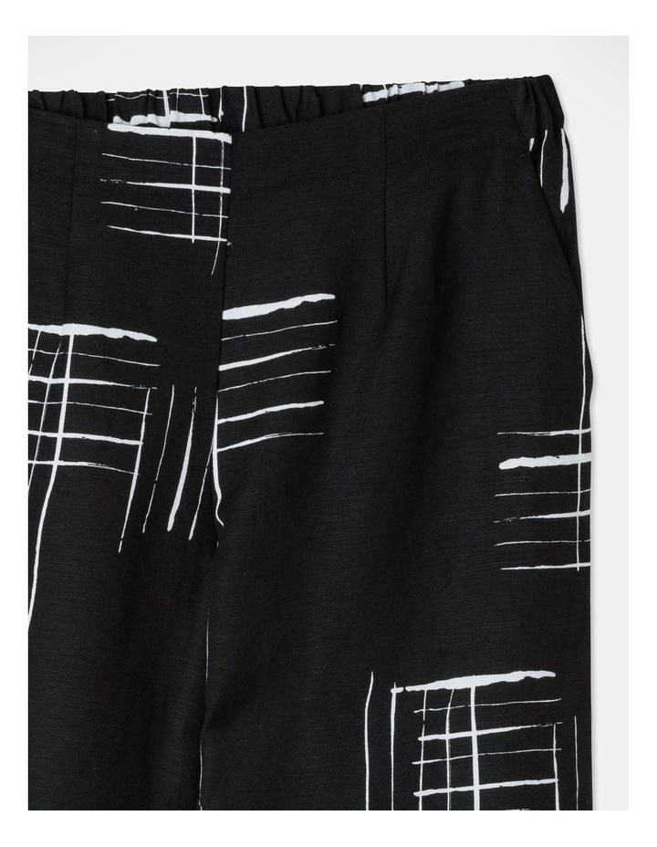 Flat Fronted Wide Leg Crop Pant Black/White Print image 2