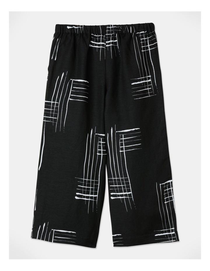 Flat Fronted Wide Leg Crop Pant Black/White Print image 3